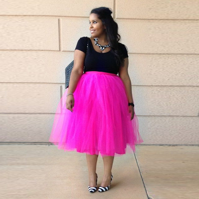 f2aa54b810 Fashion Style Hot Sale Fuschia Tutu Skirts Women Custom Made A Line Knee  Length Tulle Skirt Casual Adults Skirt