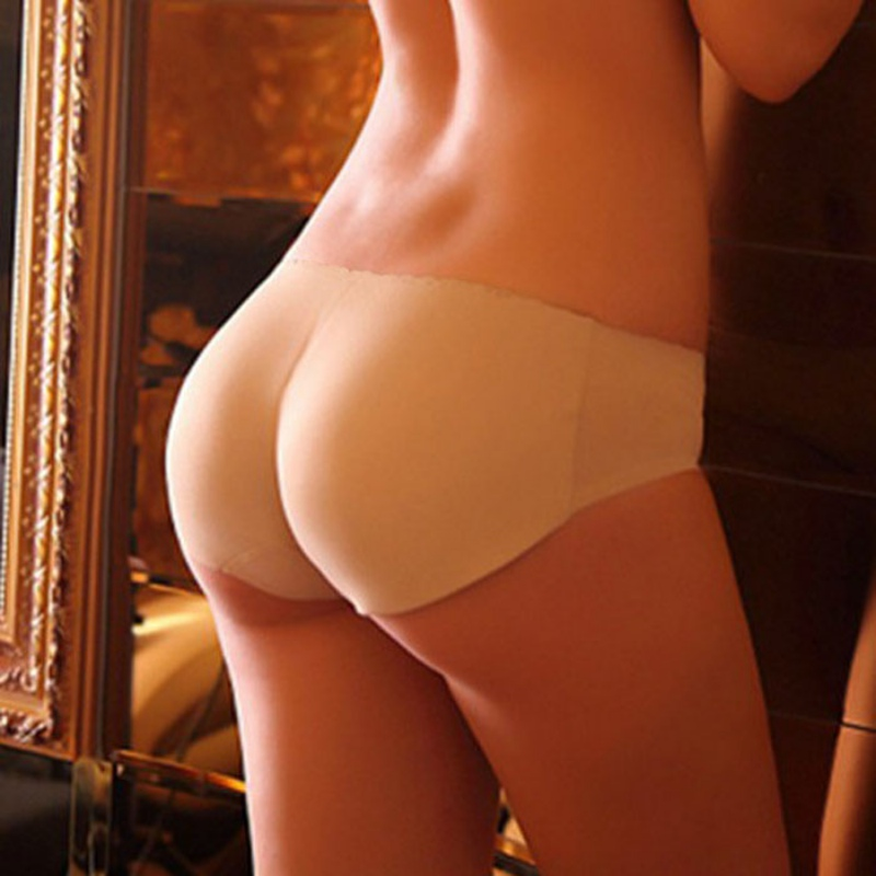 Female Solid Color Backside Silicone Bum Padded Butt Underwear Women Soft Seamless Sexy Enhancer Hip Up Briefs Panties Knickers in women 39 s panties from Underwear amp Sleepwears