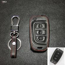 For Hyundai Verna Solaris 2017 Super Quality Black /brown Genuine Leather Remote Key Case Cover 3 buttons Key Shell starline a93