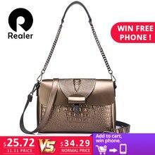 12abf8da49 REALER women messenger bags split leather crossbody bag ladies designer handbags  female crocodile print chain shoulder bag purse
