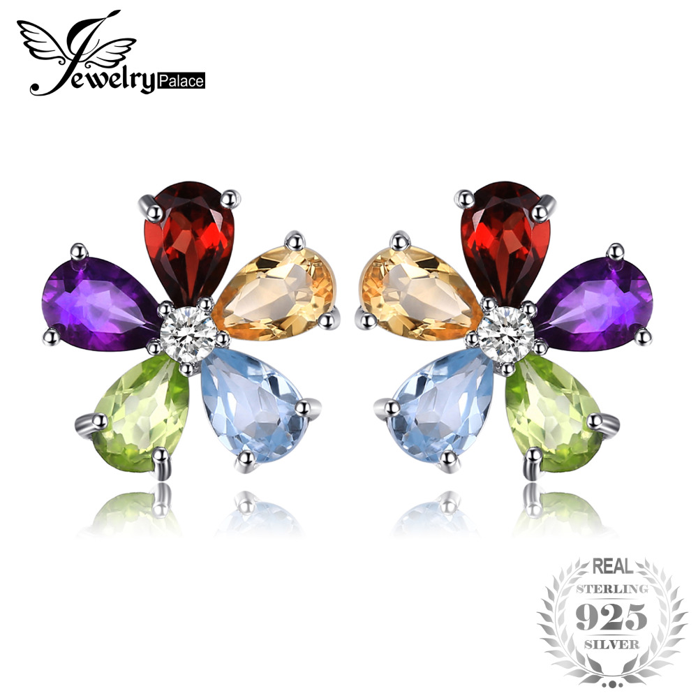 JewelryPalace Flower 4.3ct Multicolor Natural Amethyst Citrine Garnet Peridot Blue Topaz Stud Earrings 925 Sterling Silver