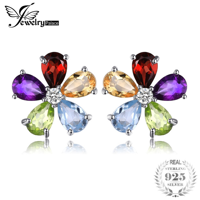 JewelryPalace Flower 4.3ct Multicolor Natural Amethyst Citrine Garnet Peridot Bl