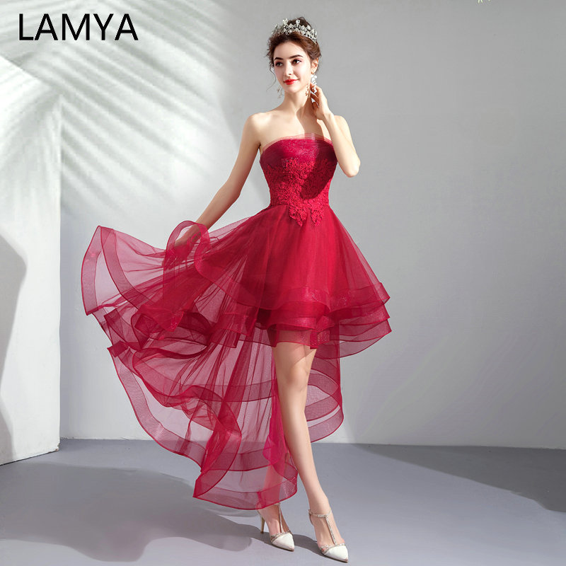 LAMYA 2019 Banquet High Low   Prom     Dresses   Lace Vintage Short Front Back Long Tail Evening Party   Dress   Scalloped Formal Gown