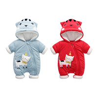 Toddler Velvet Cotton Clothing Baby Boys Girls Rompers Winter Newborn Baby Long Sleeve Warm Hoodies Jumpsuits for Baby
