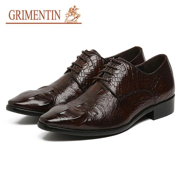f2309f5773dca GRIMENTIN Mens Leather Shoes Handmade Luxury Black Brown Men Crocodile Shoes  Leather Genuine Italian Designer Formal Flats 4Z60