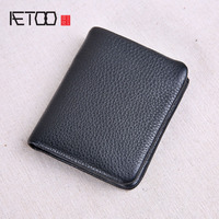 AETOO Super soft leather wallet male short zipper leather vertical wallet young students tide wallet driving license wallet