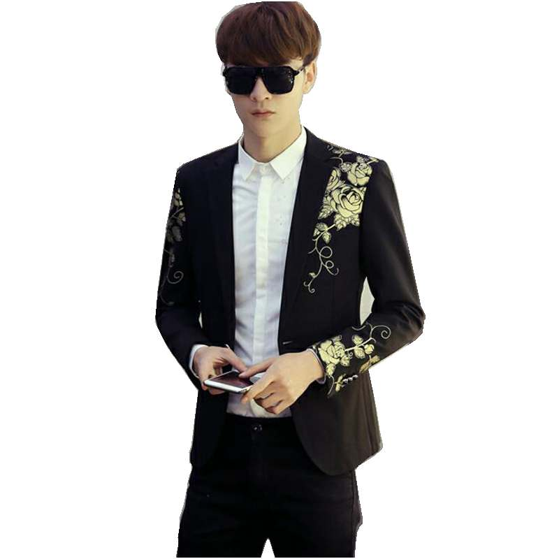Mens Blazers Fashion Golden Rose Prints Single Button Slim Fit Jacket Casual British Sty ...