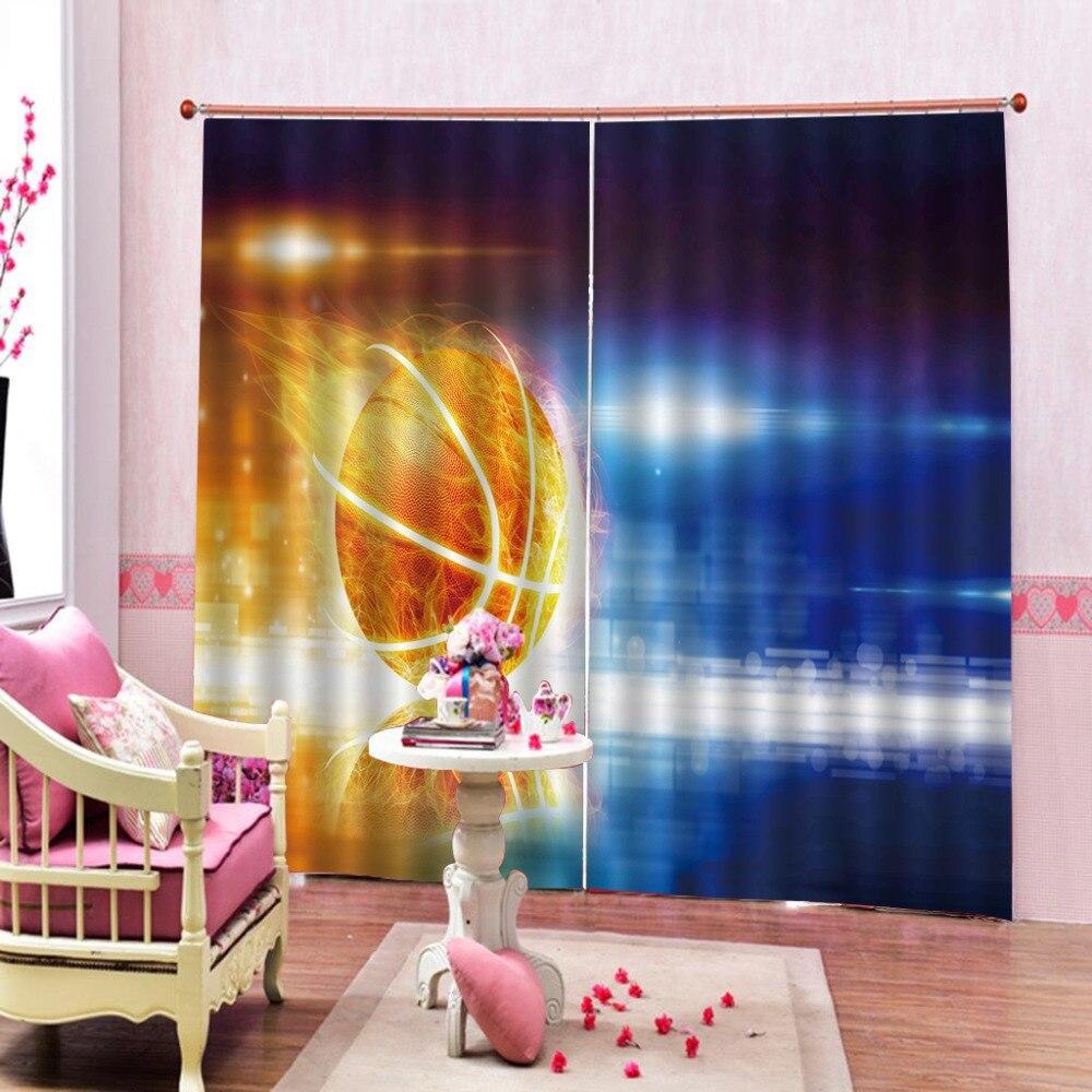 3D rideau Photo basket flamme rideaux occultants impression Blockout salon chambre fenêtre 3D rideaux