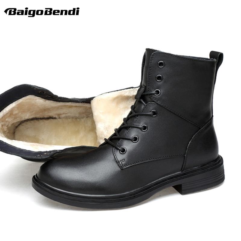 Plus Size US 13 14 15 Man Leather Super Warm Mid-calf Snow Boots Mens Winter Outdoor Warm Plush Cotton Shoes Size 46 47 48 49 mid size