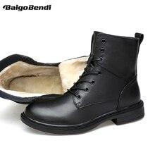 Plus Size US 13 14 15 Man Leather Super Warm Mid-calf Snow Boots Mens Winter Outdoor Plush Cotton Shoes 47 48 49