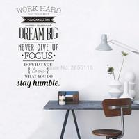 Large Inspirational Quotes Wall Decals Work Hard Dream Vinyl Wall Art Stickers For Home Office Decor