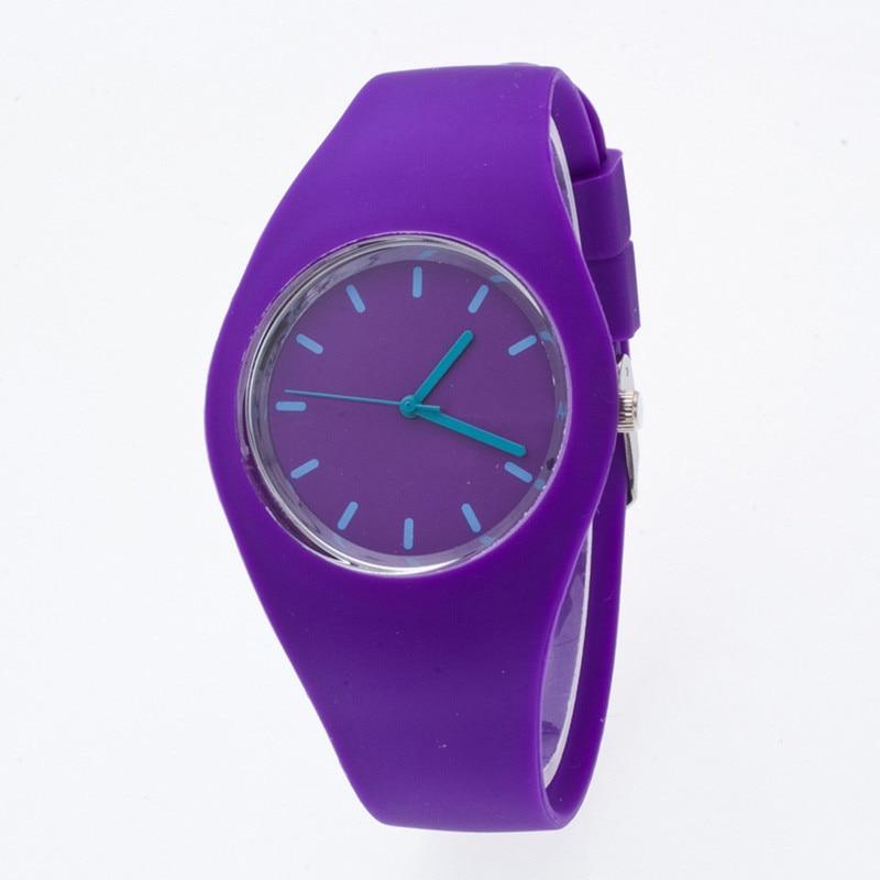 Zegarki sportowe dla Pani Kolorowe Silikonowe Bransoletki Zegarek - Zegarki damskie - Zdjęcie 3