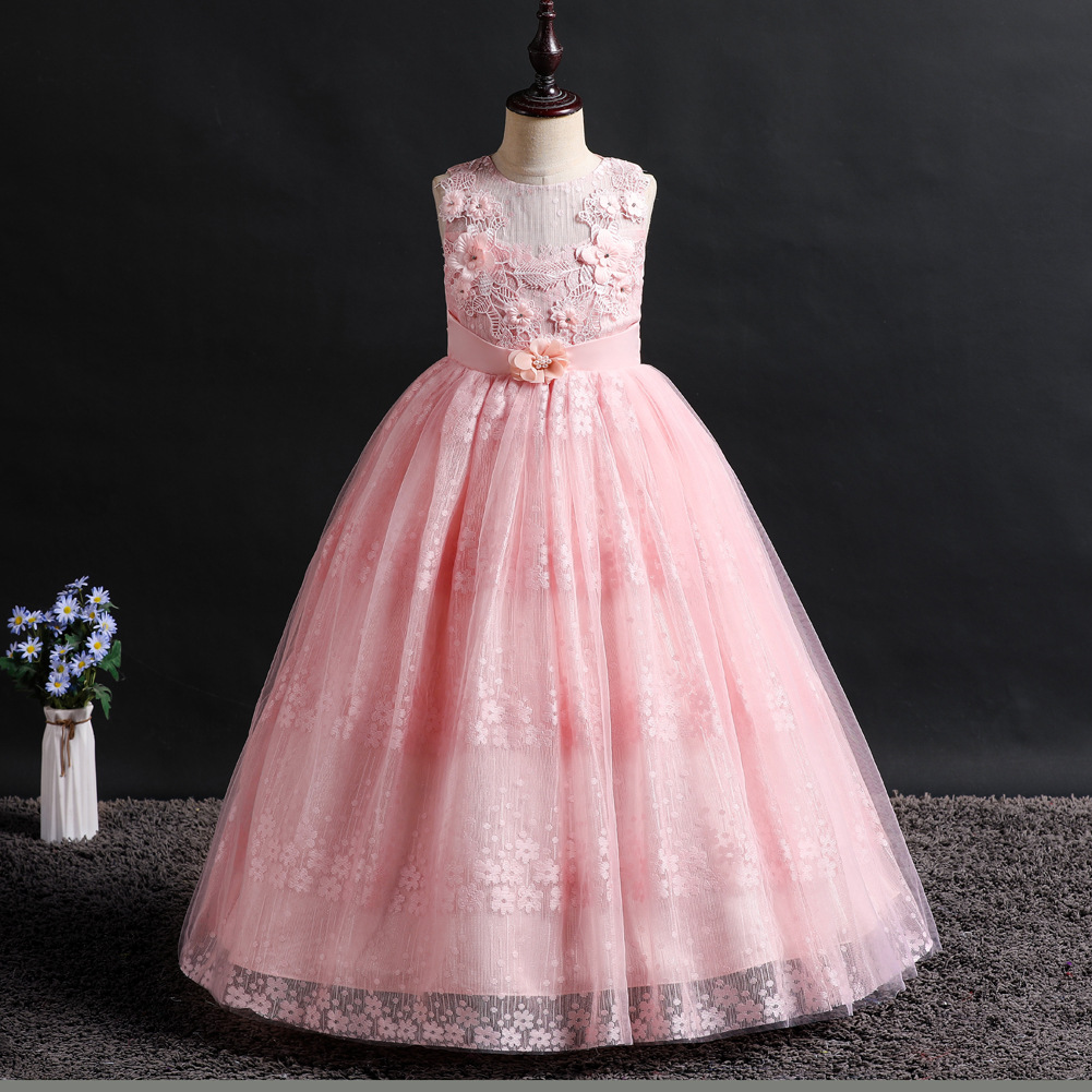 Spring Childrens Long Green Sleeveless Party Dress Flower Girl Dresses For Wedding First Communion Princess Ball Gown BabySpring Childrens Long Green Sleeveless Party Dress Flower Girl Dresses For Wedding First Communion Princess Ball Gown Baby