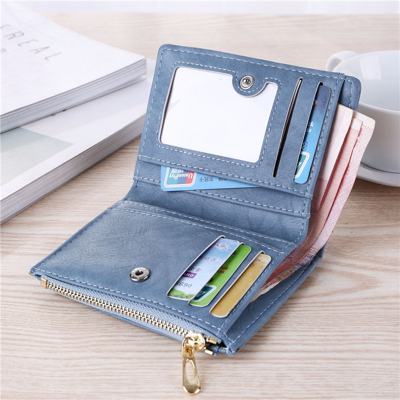 Image 3 - WESTERN AUSPICIOUS Purse Female Purple/pink/gray/blue/black Wallet Femal PU Leather Bank/ID/Credit Card Holder Wallet Women 2020Wallets   -