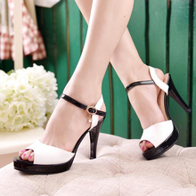 2016 summer peep toe thin thick high heels pumps with platform rhinestones buckle sandals women PU pink white blue sexy shoes