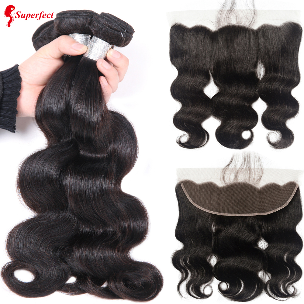 Superfect Bundles Closure Human-Hair-Weave-Bundles Frontal Body-Wave Brazilian With Remy-Lace