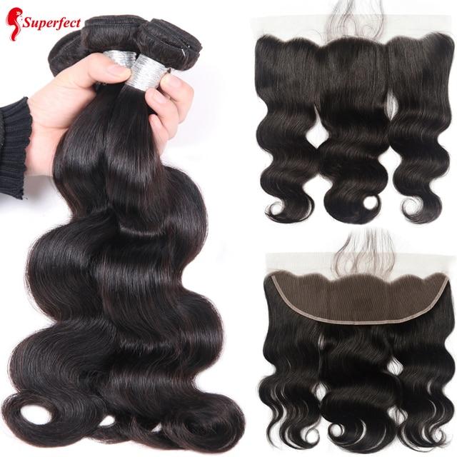 Superfect brasileño Body Wave 3 paquetes con cabello humano Frontal paquetes de tejido con cierre Remy encaje Frontal con paquetes