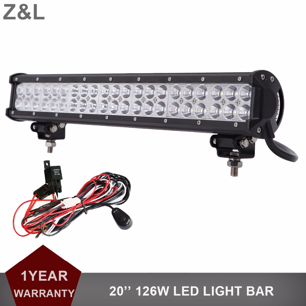 20 Inch 126W Offroad LED Driving Light Bar 12V 24V Auto Truck Trailer ATV Pickup SUV Tractor Van Camper 4X4 AWD 4WD Headlight 10w led work light 2 inch 12v 24v car auto suv atv 4wd awd 4x4 off road led driving lamp motorcycle truck headlight