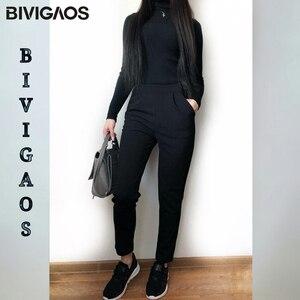Image 2 - BIVIGAOS wiosna lato nowe panie koreański OL czarne spodnie Harem oddychające cienkie spodnie ołówkowe na co dzień prosty garnitur spodnie dla kobiet