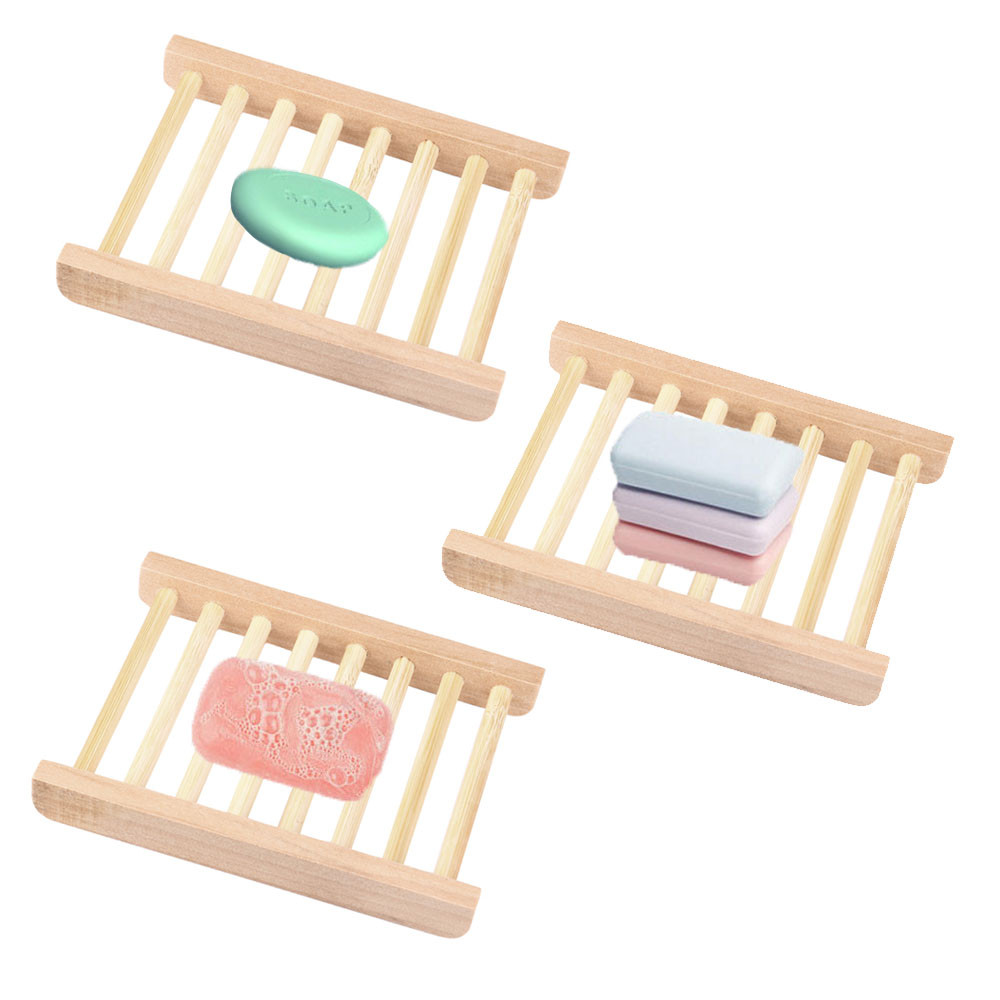 Natural Wood Soap Tray Wooden Holder Dish for Shower and Bathroom