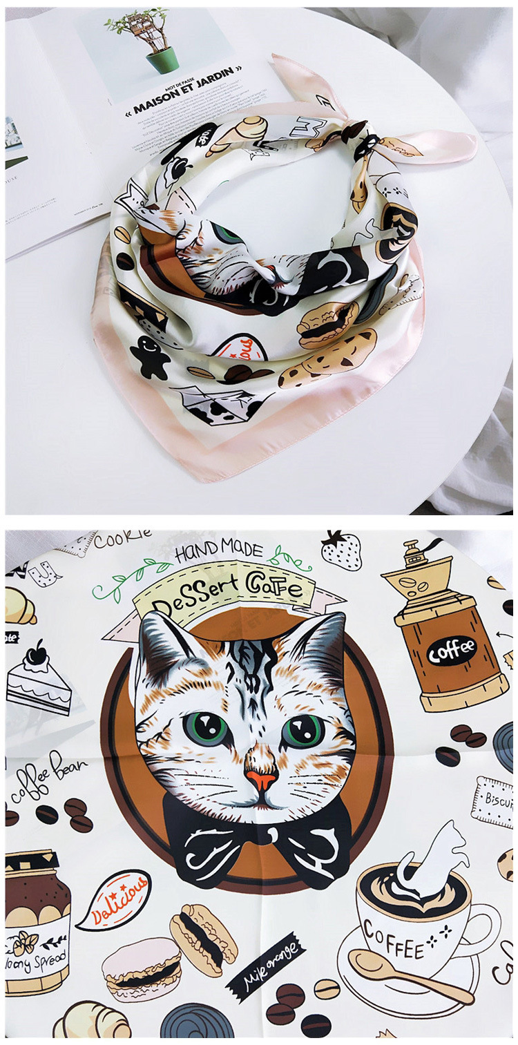 HTB1wpYSLpzqK1RjSZSgq6ApAVXal - 70*70cm Fashion Kerchief Cartoon Scarf For Women Animal Print Hair Scarf Female Square Neckerchief Cute Headband Scarves