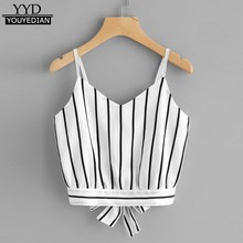 bf3c2a9d117 (Ship from US) 2018 Summer Style Tank Tops For Women's Self Tie Back V Neck  Striped Crop Tops Cami Camisole Female Camisas Mujer &308