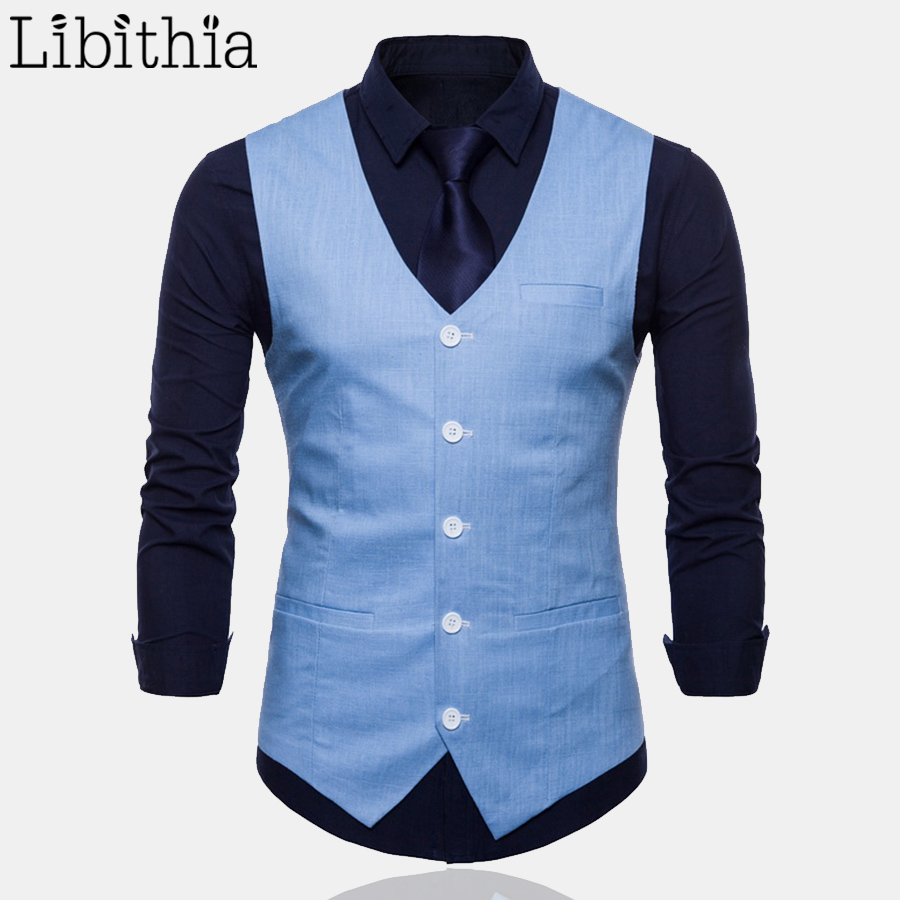 Conffetti Mens Double Breasted V-Neck Formal Slim Fit Waistcoat Pure Color Casual Multiple Colors Vest Suits