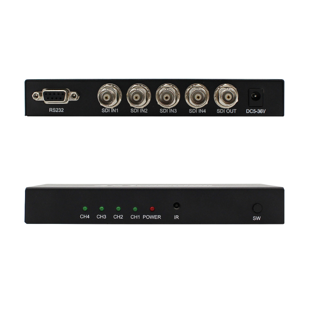 WIISTAR SDI 4x1 Switch 4 Channels SDI Signal to 1 SDI Signal Channel Support Full-HD SDI Signal Input and Output Free Shipping