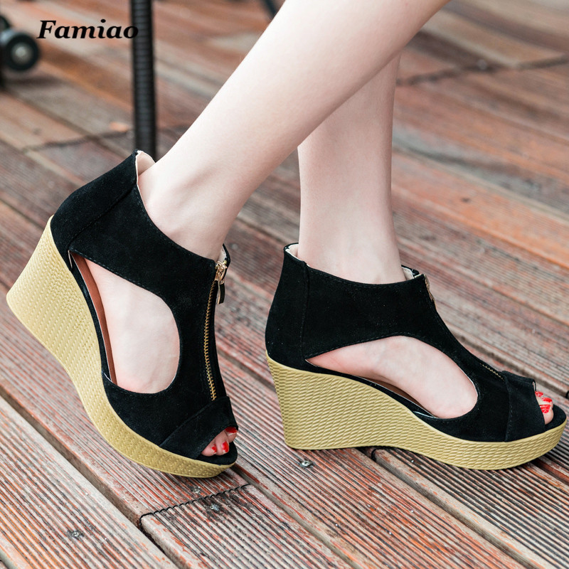 Zapatos Mujer 2017 New Women Gladiator Shoes Woman Summer Platform Wedges Vintage High Heels Open Toe With Zipper Sandalias vtota summer shoes woman platform sandals women soft leather casual peep toe gladiator wedges women shoes zapatos mujer a89