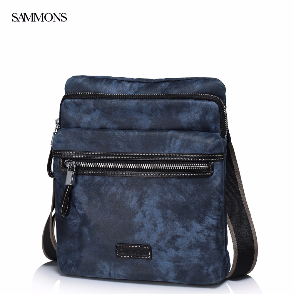 ФОТО SAMMONS Brand Design Summer Waterproof  Nylon Fabric With Genuine Cow Leather Men Shoulder Messenger Casual Crossbody  Bag
