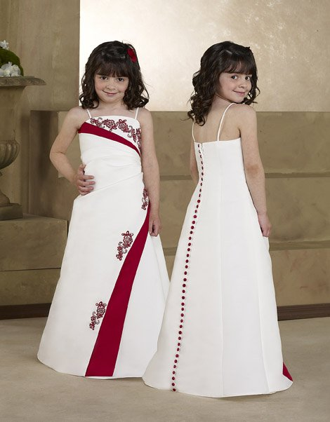 4edc41234340 PF008 cute spaghetti strap embroidery satin little girls dresses children  dress flower girl dress online free shipping
