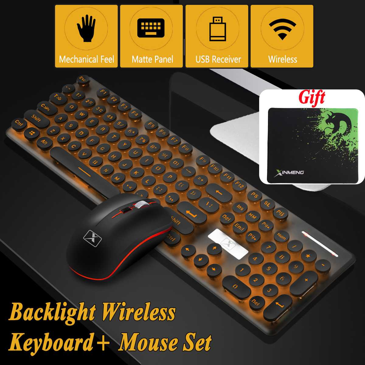 b47c8c0baaa Multimedia 2.4G Wireless Keyboard Mouse Combos Rechargeable Mute LED Backlit  Mechanical Gaming Portable Keyboard Mouse