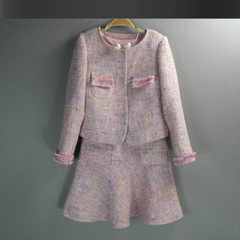 Pink Tweed Jacket Dress Suit 2017 Spring Autumn Jacket Women New