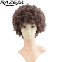 Razeal Natural Afro Wig Kinky Curly Wigs Synthetic Female Wig Short Hair Wigs Cosplay Fake Hair Pieces