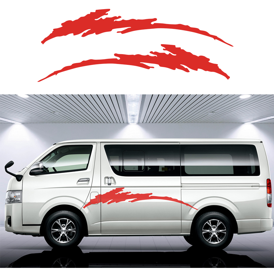 Car stickers 2 pc wave line side door stroke graphic vinyl car sticker for hiace 2015