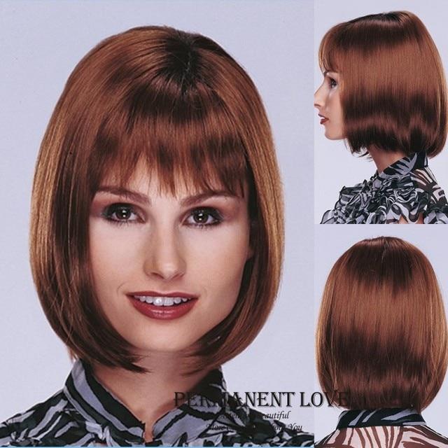Medium Length Hairstyles Auburn Wigs Bob Smooth Straight Hair Wigs