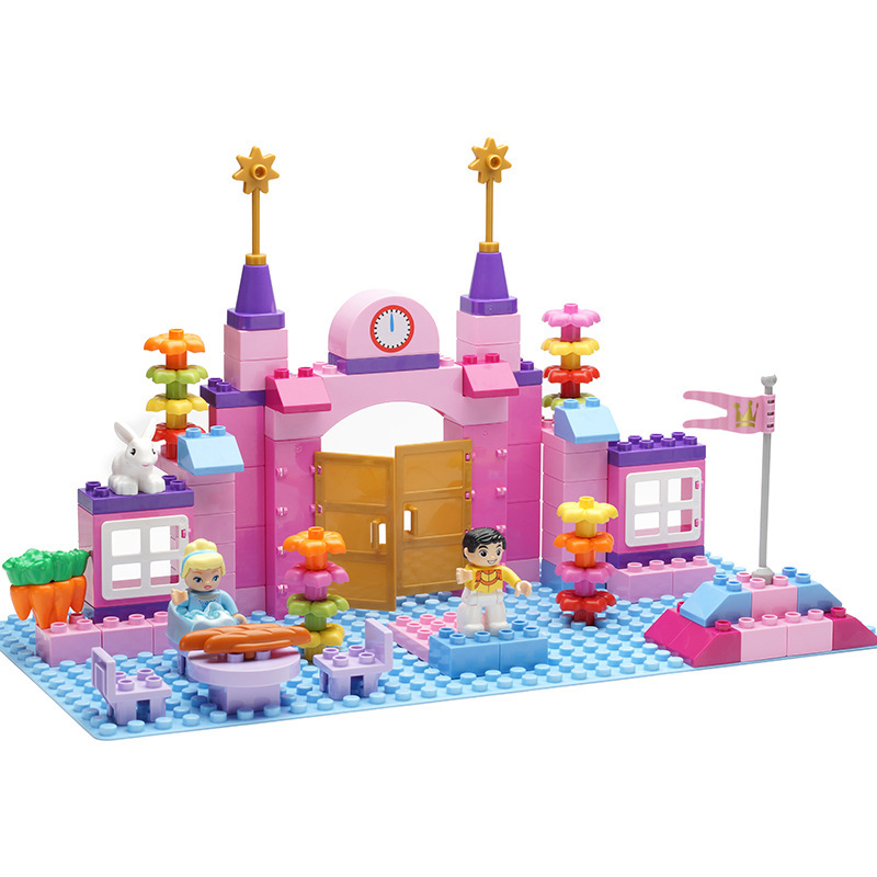 101pcs Girls Princess Villa Large Particle Building Blocks Bricks Toy DIY Educational Kids gift Compatible With LegoINGly Friend war princess castle military weapon knight cannon large particle building blocks compatible with duplo diy bricks baby toys gift