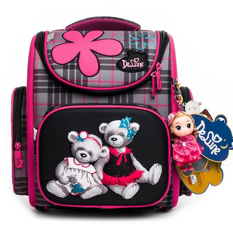 Delune 2018 New Cartoon School Bags Backpack for Girls Boys Bear Pattern Children Orthopedic Backpack Mochila Infantil Grade 1-5 недорого