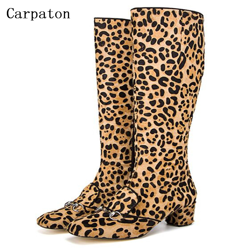 2017 Luxury Leopard Cloth Mid-calf Boots Fashion  Boots Woman Mid Boots Nightclub Party Shoes double buckle cross straps mid calf boots
