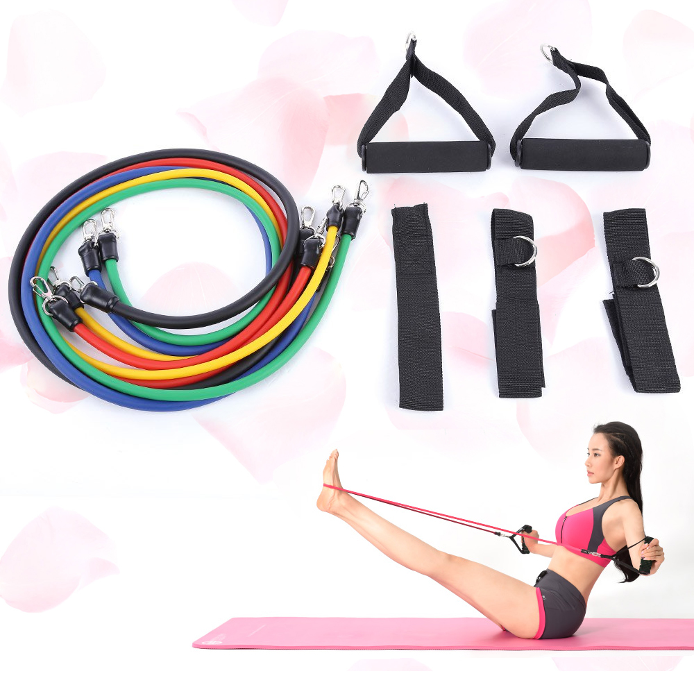 Rubber Exercise Tubing Bands: 11pcs Set Natural Rubber Latex Resistance Bands Fitness