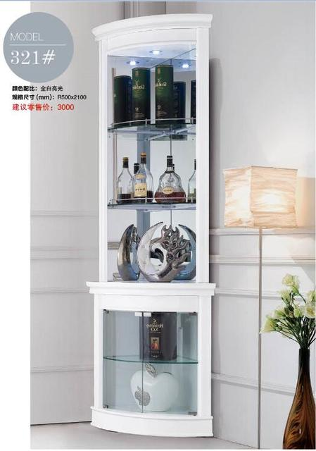 321# Living room furniture round corner white display showcase wine ...