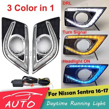 3 Color DRL For Nissan Sentra 2016 2017 LED Car Daytime Running Light Driving Fog Day Lamp Daylight With Turn Signal