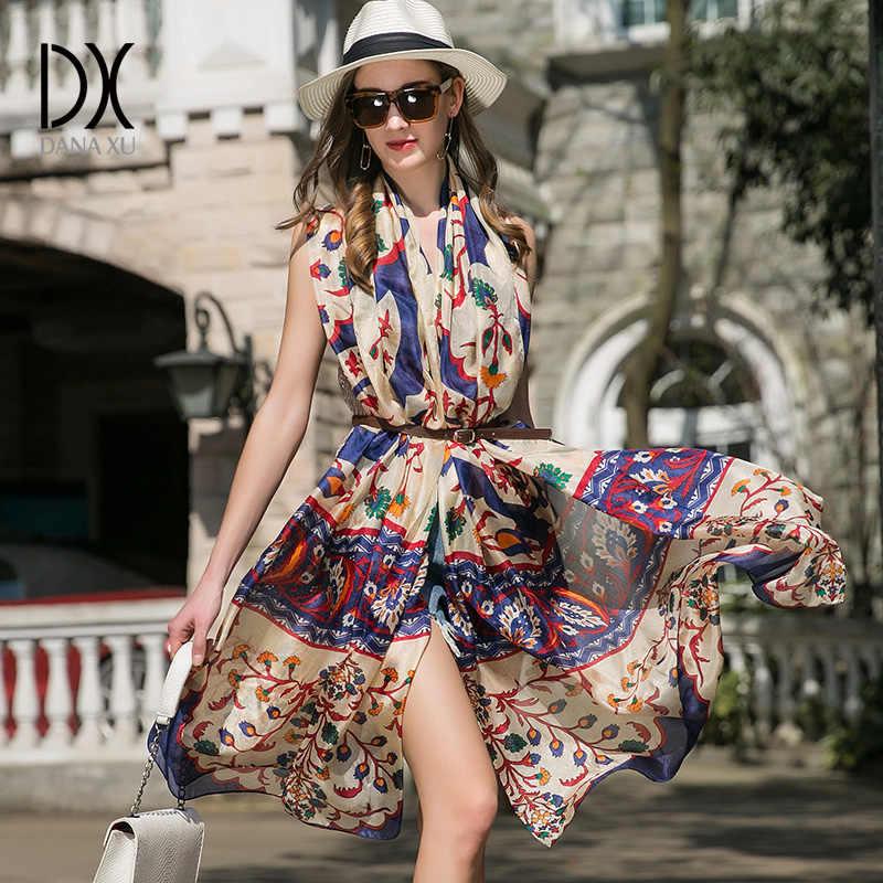 2019 seide Langen Schal Luxus Marke Frauen Neue Design Strand Decke Schal Tragen Bademode Bandana Hijab Gesicht Schild Foulard 245*110cm