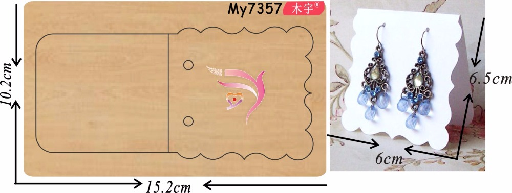 Earrings hanging tag 2 new wooden mould cutting dies for scrapbooking Thickness 15 8mm