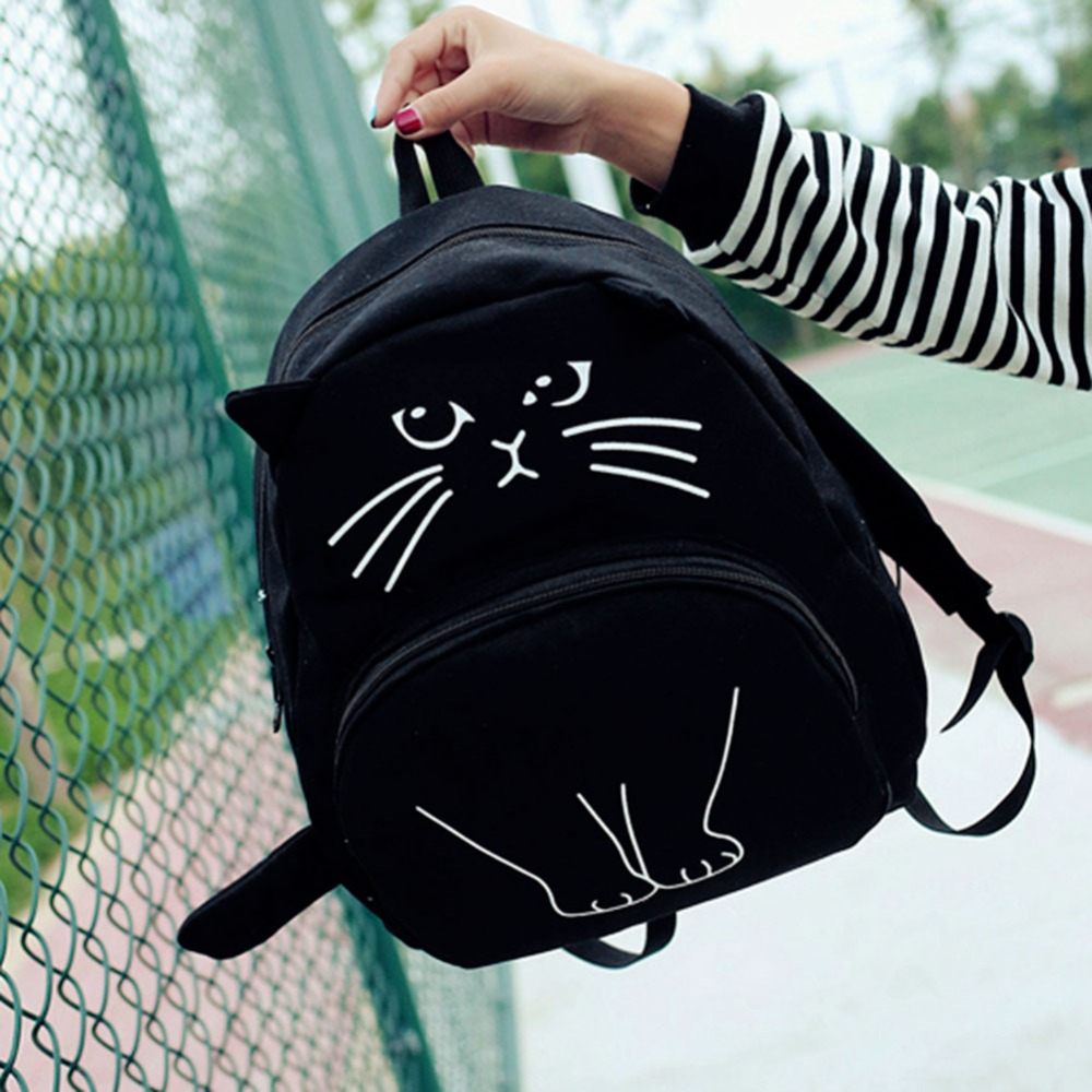 Black & White Cat School Backpack