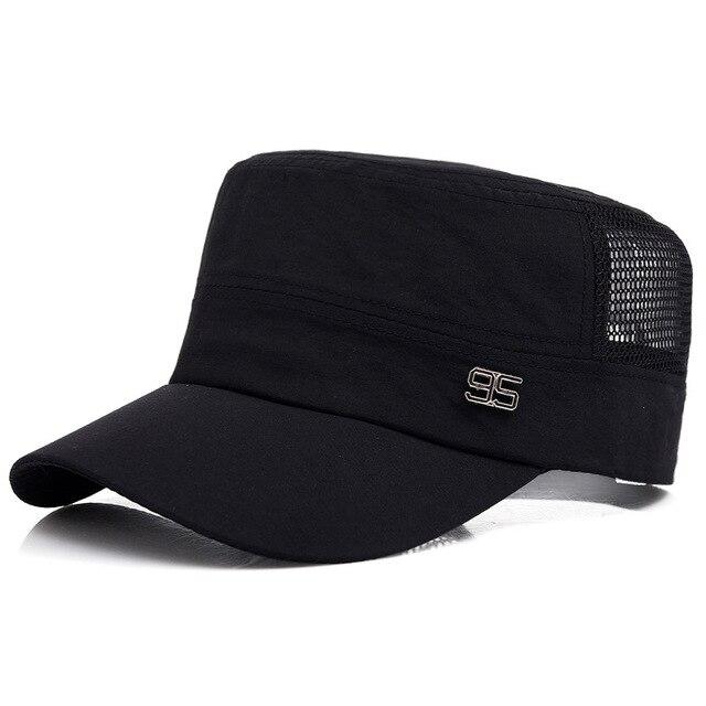 2017 New Vintage Men Mesh Dad Hat Stylish 95 Logo Flat Top Short Brim Solid Cap  Trucker Hats Classic Snapback Caps d47e61111e1