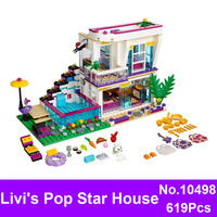 BELA 10498 619Pcs Lepin Friends Series Livi S Pop Star House Model Building Blocks Girl Bricks
