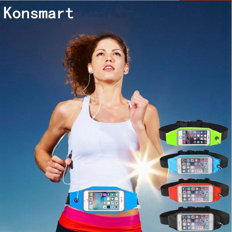 KONSMART Sportovní taška do pasu Vodotěsné doplňky do tělocvičny Nastavitelná taška pro iPhone 5 6 7 Plus Samsung S8 Redmi 4X Universal Case