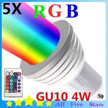 5pcs/lot  4W GU10 RGB Bulb Colorful RGB LED Light Bulb RGB LED Spotlight 110V/220V with 24Key IR Remote Controller Free Shipping