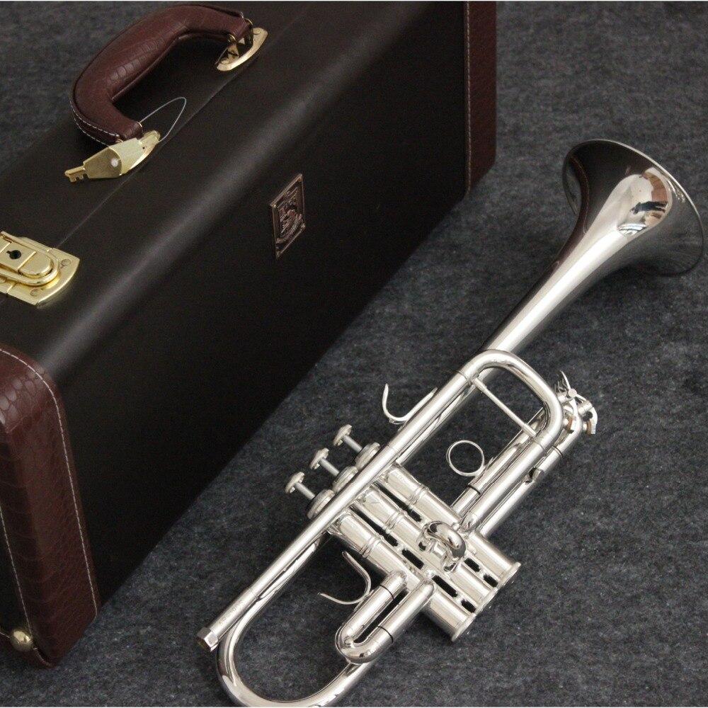 Bach C trompeta AB-190S chapados en plata instrumentos de la música Profesional trompetas funda incluida boquilla Accesorios